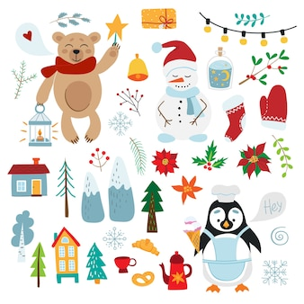 Набор для празднования. симпатичные детские рождественские иллюстрации