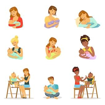 Установить для . красочный мультфильм подробные иллюстрации на белом фоне