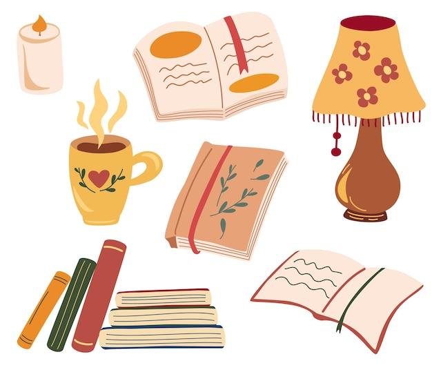 Набор для уютного чтения. различные бумажные книги. любитель книг, читающие книги, концепция читателей.