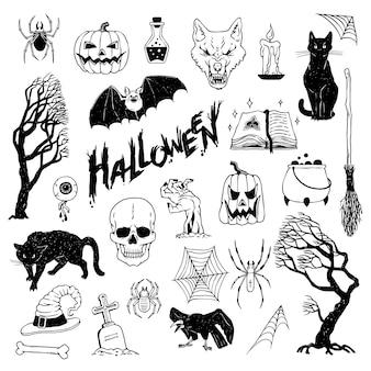 할로윈 휴가를 설정합니다. 신비로운 물건과 소름 끼치는 동물과 생물의 벡터 검정, 흰색 스케치 삽화.