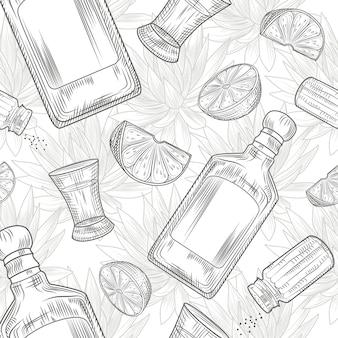 テキーラのシームレスパターンに設定します。ショットグラスとボトルのテキーラ、塩、ライム、リュウゼツラン。ヴィンテージスタイルの彫刻。ベクトルイラスト。
