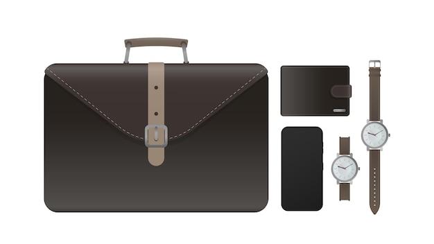Набор для бизнесмена. кожаный портфель, чемодан, коричневый кошелек, наручные часы с кожаным ремешком, смартфон. реалистичный вектор. фондовый иллюстрации, изолированные.
