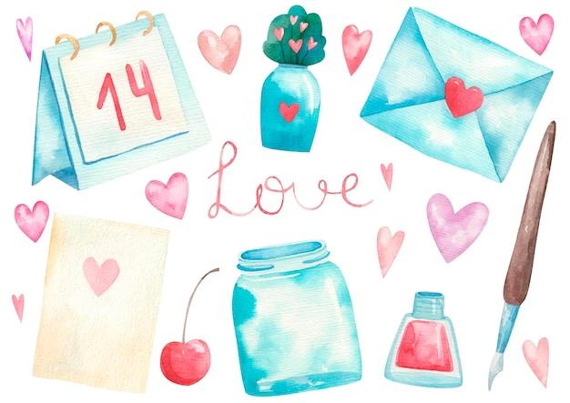 バレンタインデー、封筒、手紙、羽とインク、ハート、かわいいイラストのセット