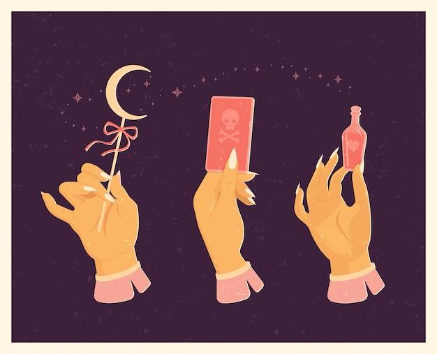 Набор ведьм для магического ритуала. в винтажном стиле.