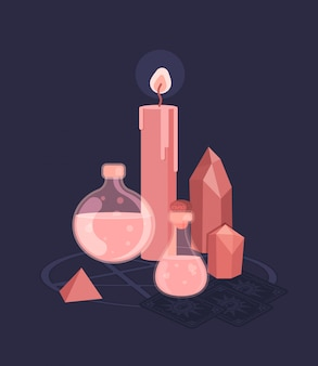 魔女の魔法の儀式のために設定します。魔術
