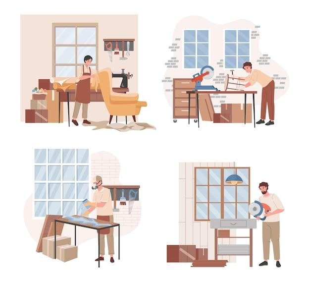 Set of foremen making furniture illustration