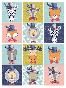Set of forest animalstigerelkbearzebralionfoxwild boarmousewolfhand drawn