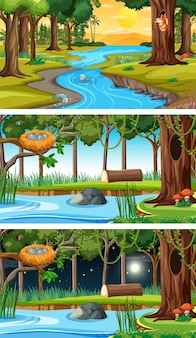 Set of forest horizontal scenes in different times