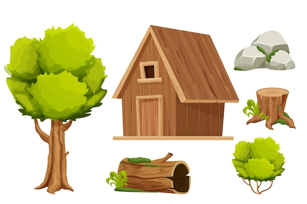 Set forest hut wooden house or cottage tree old log with moss stone pile and bush