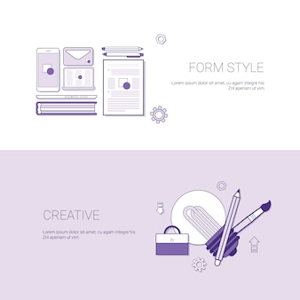 Set of form style and creative banners business concept template