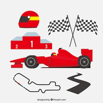 Set of formula 1 elements in flat style