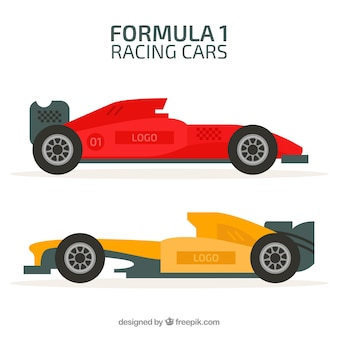 Set di auto da corsa formula 1 con design piatto