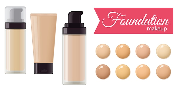 Set of foundation cream for mackeup and color palette