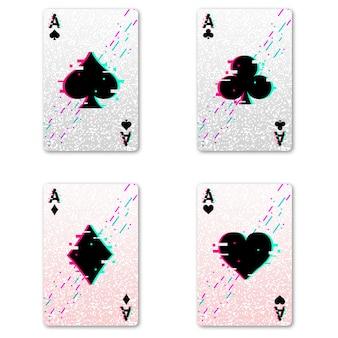 ポーカーとカジノをプレイするための4つのエースを設定してください。