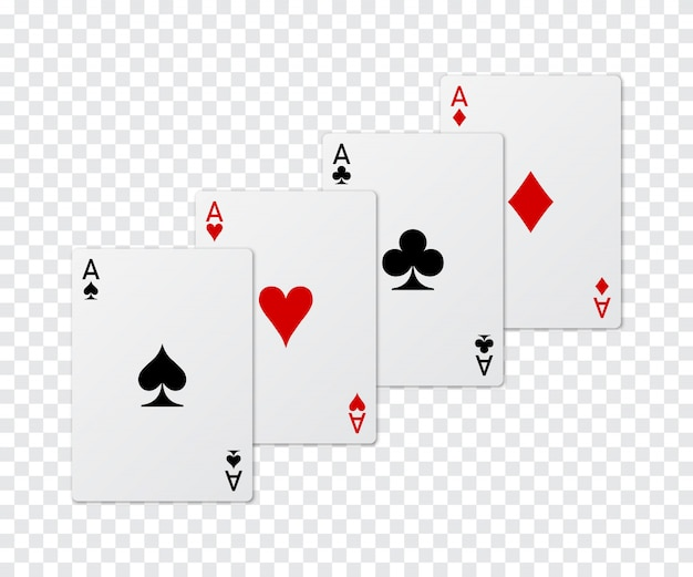 Set of four aces poker card.