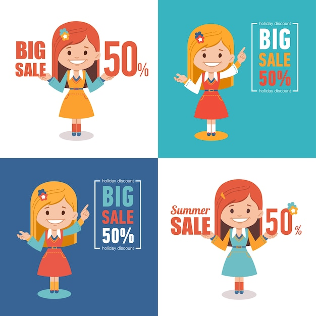 Set of four advertising shopping labels. summer sale, big sale 50 percent. banners seasonal discounts with character girl