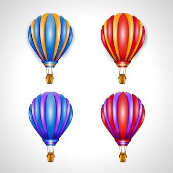 Set of four air balloon vector illustrations. 3d illustration