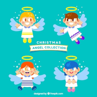 Set of four angel characters