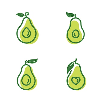 Set of four avocados and one has heart shape inside it drawing designs template