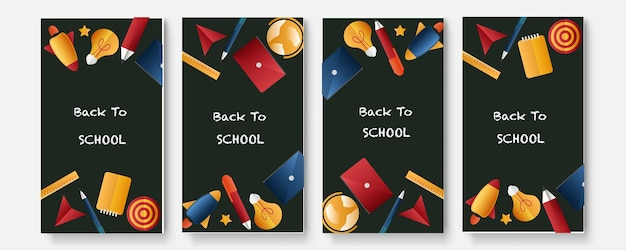 Set of four back to school social media pack template premium vector