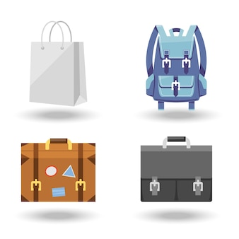 Set of four baggage vector illustrations with a white paper carrier or shopping bag  suitcase with labels  briefcase and backpack or rucksack