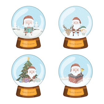 Set of four beautiful christmas snowglobes