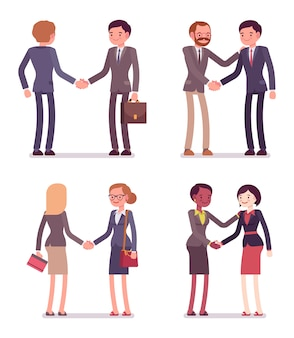 Set of four business pairs handshaking