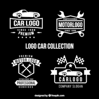 Set of four car logos in flat design