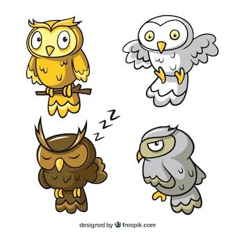 Set of four cartoon owls