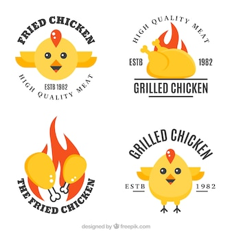 Set of four chicken logos in flat design