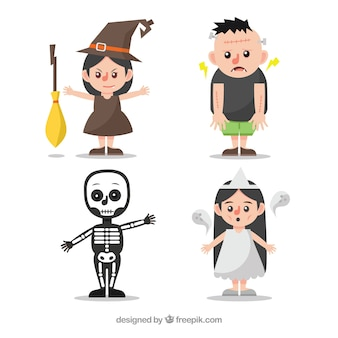 Set of four children with halloween costumes in flat design