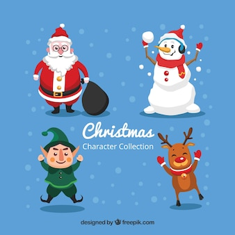 Set of four christmas characters in flat design