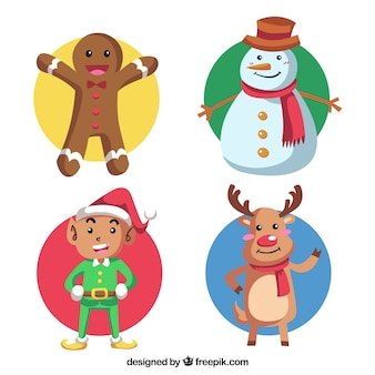 Set of four christmas characters