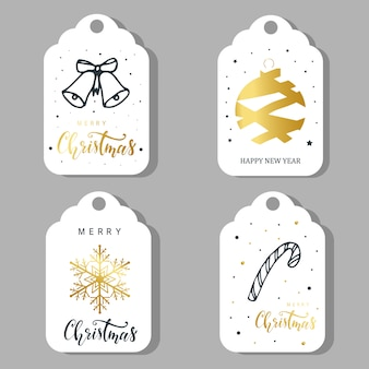 Set of four christmas labels, stickers design