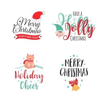 Set of four christmas logotype or insignia cute cartoon christmas tree vector