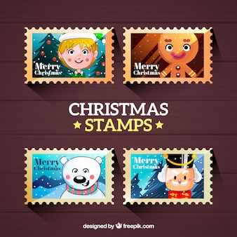 Set of four christmas stamps with christmas characters