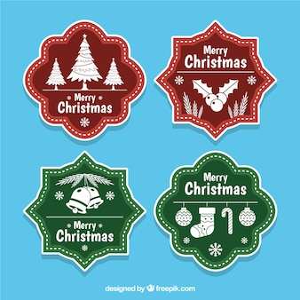 Set of four christmas stickers in vintage style