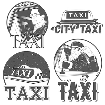 Set of four city taxi badges