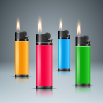 Set four color lighter with fire.