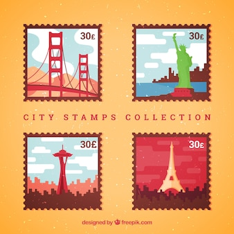 Set of four colored stamps with different cities