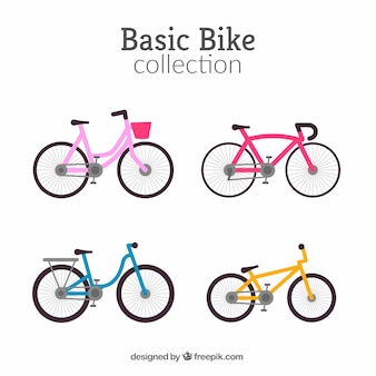 Set of four colorful bikes