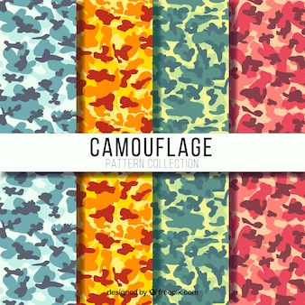 Set of four colorful camouflage patterns