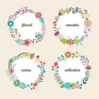 Set of four colorful circular vector floral wreaths with summer flowers and central white copyspace for your text