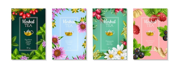 Set of four colorful realistic posters with herbal tea types illustration