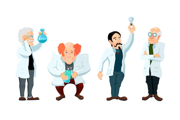 Set of four cute cartoon scientists characters isolated