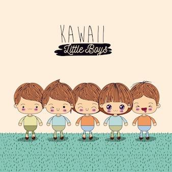 Set four cute full body kawaii little boys