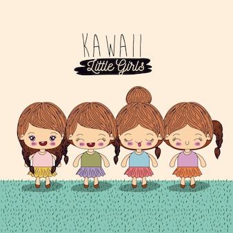 Set four cute full body kawaii little girls