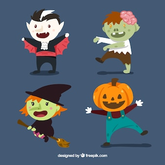 Set of four cute halloween characters