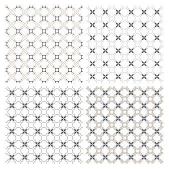Set of four delicate seamless patterns in arabic motif
