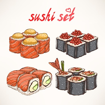 Set of four different kinds of delicious hand-drawn rolls